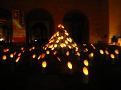 竹を使った明かりのオブジェ